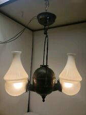 VICTORIAN ANTIQUE KEROSENE OIL ANGLE LAMP CONVERTED CHANDELIER CEILING FIXTURE