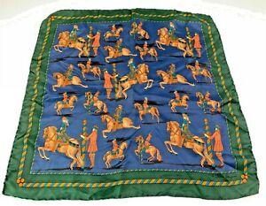 Salvadore Ferragamo 100% Silk Pocket Square Horse & Rider