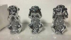 SILVER SET CRUSHED DIAMOND WISE MONKEY SPARKLY BLING HOME DECORATIVE ORNAMENT UK
