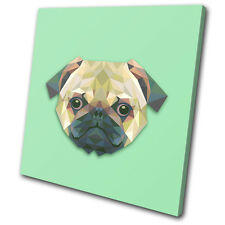 Geometric Abstract Pug Animals SINGLE TOILE murale ART Photo Print