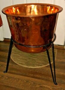 Copper Planter with Stand Large Heavy Handmade