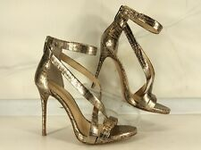 Imagine Vince Camuto Women's Gold Leather High Heel Ankle Strap Sandals Size 7M