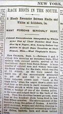 1889 headline newspaper w Black vs White in RACE WAR at GOLDSBORO Louisiana