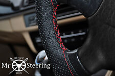 FOR 08-16 PEUGEOT 3008 PERFORATED LEATHER STEERING WHEEL COVER RED DOUBLE STITCH
