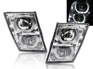 Set of Pair Chrome DRL Fog Light w/ Halo Rims for 2004-2017 Volvo VNX VNL