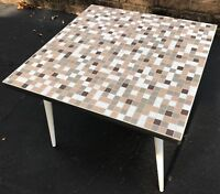 Vintage 50s 60s Square Tile Mosaic Table Retro Mid Century Modern Atomic Era