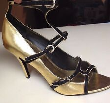 Orig. $695  Fabulous Gold Metallic Leather & Blk Suede Ankle Strap Heels 38.5