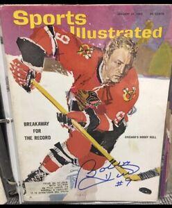 BOBBY HULL signed 1965 Sports Illustrated  Blackhawks hofer