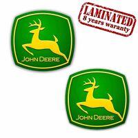 2 PVC Vinyle Autocollants John Deere Tracteur Agricole Stickers Voiture Auto