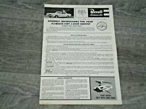 "Revell H-1261"" 62 Plymouth Fury "" Original Model Car Instruction sheet from 1962"