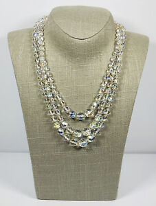 Vintage Necklace Graduated Three Strand Aurora Borealis Crystals Sparkly Pretty