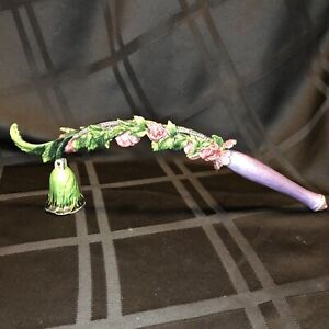 Pink Flower And Ivy Vine Candle Snuffer, Pewter. Heavy, Adorned With Pink Jewels