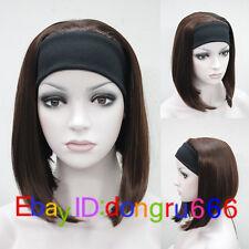 Donna Carino Breve Bob 3/4 Parrucca con Fascia per Capelli Dritto Marrone Mezza Parrucca Parrucche + Cap