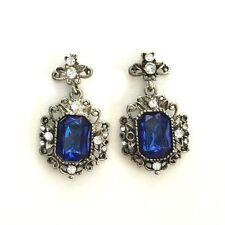 Beautiful Vintage Antique Style Blue Austrian Crystal Drop Dangle Earrings