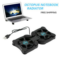 Mini Notebook Foldable Cooler Laptop USB Double Cooling Fan Pad Stand Computer