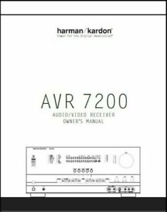 Harman Kardon AVR 7200 AV Receiver Owner's Manual - Operating Instructions