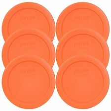Pyrex 7200PC Round 2 Cup Storage Lid for Glass Bowls (6, Orange), New
