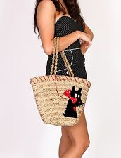 vintage style woven straw tote shopper beach bag with black scottie dog 50s 70s