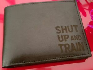 Gym Weighlifting engraved Leather Wallet (merchandise present Fitness Dumbell)