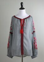 ANTHROPOLOGIE $88 Banjara Gingham Check Plaid Tassel Embroidered Top Size Medium