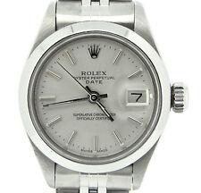 Rolex Date Ladies Stainless Steel Watch Jubilee Domed Bezel Silver Dial 6916