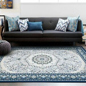 Deal Large Navy Blue Rug Ivory Beautiful Soft Mandal Lounges Carpet 200x290