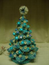 "FABULOUS REFURBISHED 17"" SHABBY CHICK BLUE SPARKLY CERAMIC CHRISTMAS TREE"