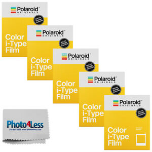 Polaroid Color i-Type Instant Film (8 Exposures) x 5 | Cleaning Cloth