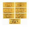 7PCS Gold Dollar Bill Full Set Gold Banknote USD 1/2/5/10/20/50/100