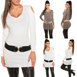 Maglione Donna Lungo Pullover maglia sexy primavera manica lunga bianca scollata