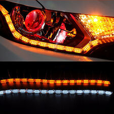 2 Switchback 16 LED Lampe Strip Flexibel Tagfahrlicht Blinker Signal Weiß+Amber