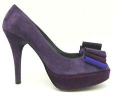 Stuart Weitzman Purple Suede Leather Bow Peep Toe Platform Heel Shoes Womens 6 M