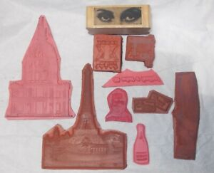 Unmounted art journaling collage stamps Mixed rubber stamp lot bundle buildings