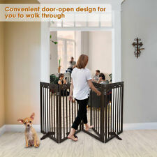 Dog Gate Pet Fence Playpen Folding Wood Barrier Free Standing Indoor 24