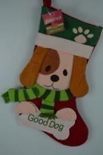 Good Dog Christmas Stocking Puppy Red Green Stripe Scarf Cracker Barrel Vigor