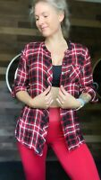 Talbots Flannel Tunic Red & Black Plaid Long Sleeve Button-Down Top - Sz M