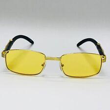 e036983ea07 Fashion Wood Legs Metal Frame Yellow Blue Gold Buffs Designer Square  Sunglasses
