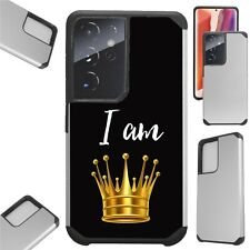 FUSION Case For GALAXY S21 S20 NOTE 20 Hybrid Phone Cover I AM QUEEN CROWN