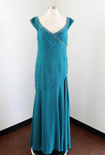 Cameron Blake Mon Cheri Teal Blue Beaded Draped Evening Dress Formal Gown Size 6