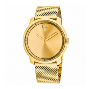 💥 Movado 3600373 Bold Gold Tone Stainless Steel Mesh Bracelet Men's Watch