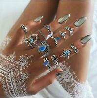 13Pcs Boho Vintage Silver Blue Crystal Midi Above Knuckle Ring Set Jewelry Gift