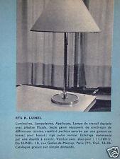 PUBLICITÉ 1955 LUNEL LUMINAIRES LAMPADAIRES APPLIQUES LAMPES - ADVERTISING