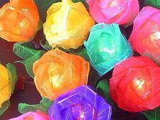 Multi Coloured Rose Flowers Mains Plug Fairy Lights 20 Roses