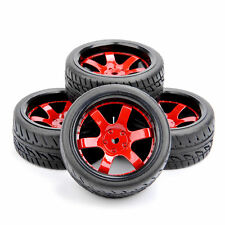 4PC Rubber Tires & Red Wheel For HSP HPI RC 1/10 Scale On-Road Touring Car D6NKR