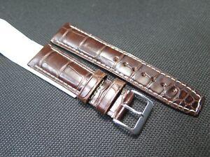 Hirsch TRITONE Padded Crocodile Leather Watch Strap Brown size M 22/24mm 50% off