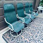 Vintage Patio Chair Set Lloyd Loom Flanders Green Perma Wicker Mid Century MCM