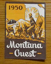ORIGINAL VINTAGE TRAVEL LABEL 1950 MONTANA GUEST PASS ROAD TRIP OLD WAGON COWBOY