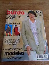 MAGAZINE BURDA COUTURE FACILE AVEC COURS DE COUTURE ILLUSTRES.  1996