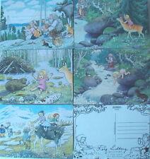 5 Karten Postkarten Trolle Lidberg Schweden