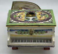 Vintage Victorian Design Piano Cigarette Holder w 2 Ashtrays Hand Painted Japan
